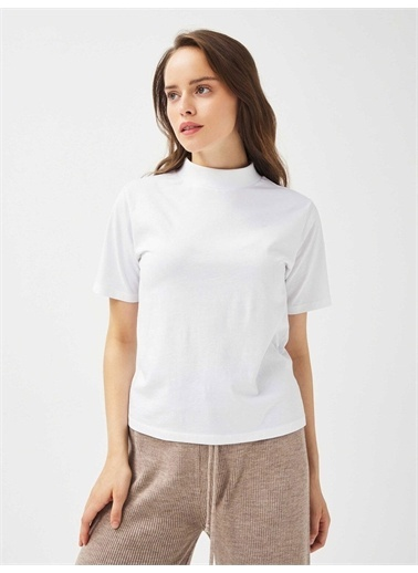 Xint XINT Dik Yaka %100 Pamuk Rahat Kesim Basic Tişört Beyaz